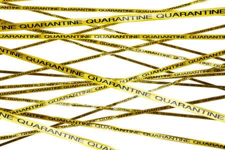 epidemic: Quarantine Ribbon Signs 3D Illustration Stock Photo