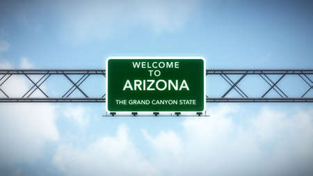 grand canyon: Arizona USA State Welcome to Highway Road Sign