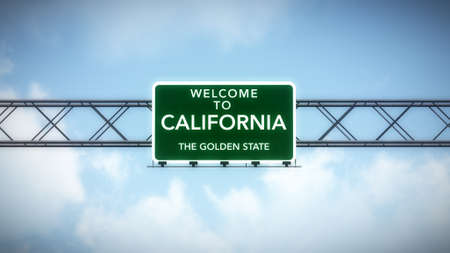 California USA State Welcome to Highway Road Sign Banque d'images