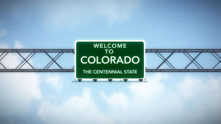 state of colorado: Colorado USA State Welcome to Highway Road Sign Stock Photo