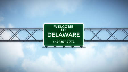 delaware: Delaware USA State Welcome to Highway Road Sign