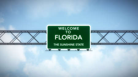 sunshine state: Florida USA State Welcome to Highway Road Sign