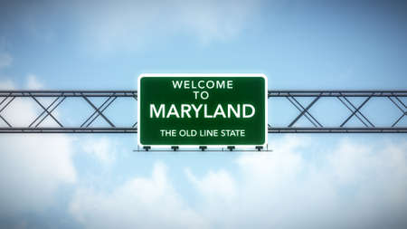 maryland: Maryland USA State Welcome to Highway Road Sign