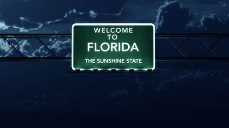 sunshine state: Florida USA State Welcome to Highway Road Sign at Night
