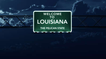 Louisiana USA State Welcome to Highway Road Sign at Night photo
