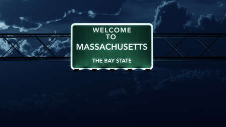 highway night: Massachusetts USA State Welcome to Highway Road Sign at Night