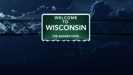 Wisconsin USA State Welcome to Highway Road Sign at Night photo
