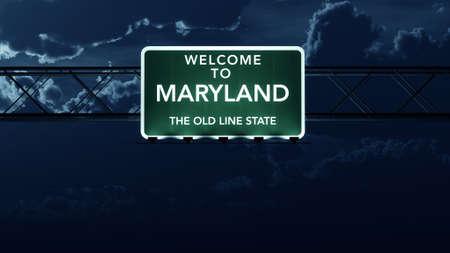 Maryland Stati Uniti stato Benvenuti al cartello autostradale strada di notte Archivio Fotografico - 37042239