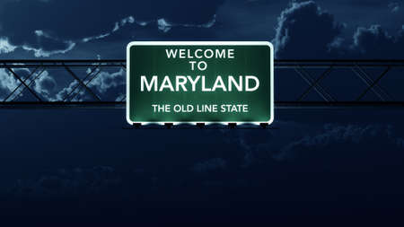 Maryland USA State Welcome to Highway Road Sign at Night Stock Photo