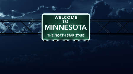 highway night: Minnesota USA State Welcome to Highway Road Sign at Night Stock Photo