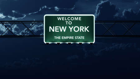 empire state: New York City USA Interstate Highway Sign at Night Stock Photo