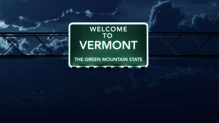 Vermont USA State Welcome to Highway Road Sign at Night photo