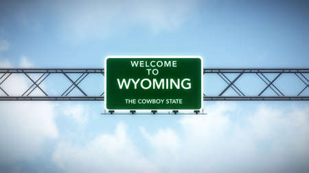 welcome sign: Wyoming USA State Welcome to Highway Road Sign Stock Photo