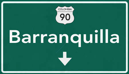 colombia: Barranquilla Colombia Highway Road Sign