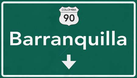 Barranquilla Colombia Highway Road Sign Archivio Fotografico - 37501051