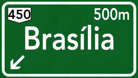 brasilia: Brasilia Brazil Highway Road Sign Stock Photo