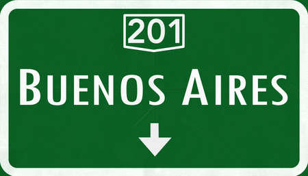 aires: Buenos Aires Argentina Highway Road Sign Stock Photo