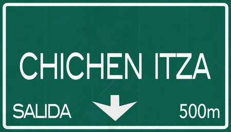 chichen itza: Chichen Itza Mexico Highway Road Sign Stock Photo