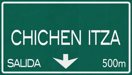 itza: Chichen Itza Mexico Highway Road Sign Stock Photo