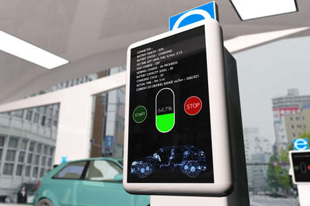 Electric Vehicle Charging Station 3D Illustration