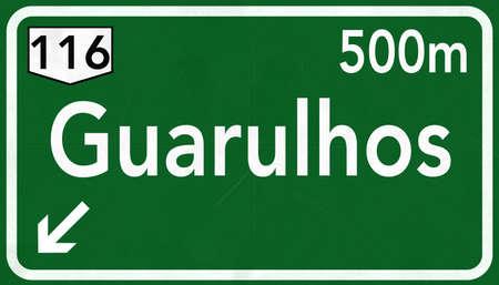 Guarulhos Brazil Highway Road Sign