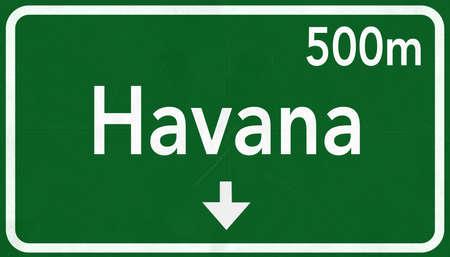 havana: Havana Cuba Highway Road Sign
