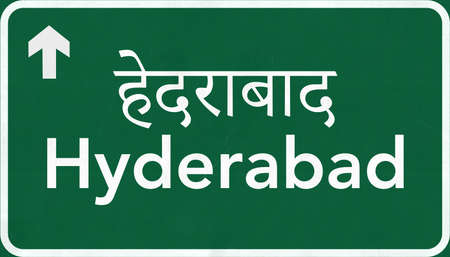 hyderabad: Hyderabad India Highway Road Sign Stock Photo