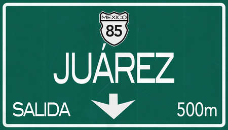 Juarez Mexico Highway Road Sign Stock Photo