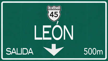 leon: Leon Mexico Highway Road Sign