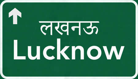 Lucknow India Highway Road Sign Stock Photo