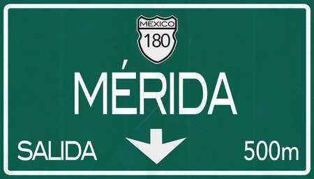 merida: Merida Mexico Highway Road Sign