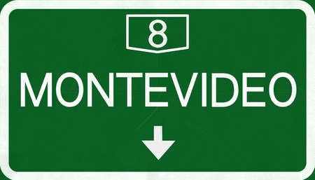 montevideo: Montevideo Highway Road Sign Stock Photo