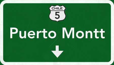 chilean: Puerto Montt Chile Highway Road Sign