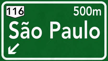 Sao Paulo Brazil Highway Road Sign