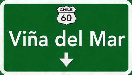 chilean: Vina Del Mar Chile Highway Road Sign