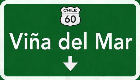 Vina Del Mar Chile Highway Road Sign