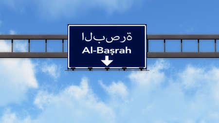 al: Al Basrah Highway Road Sign