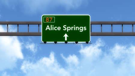 springs: Alice Springs Australia Highway Road Sign Stock Photo