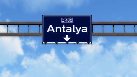 Antalya Turkey Highway Road Sign
