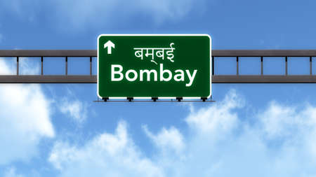 bombay: Bombay India Highway Road Sign