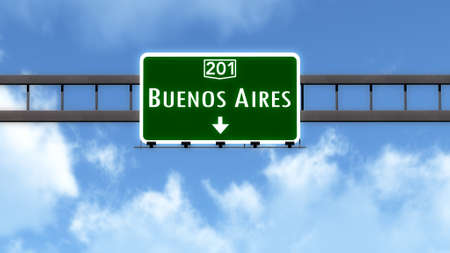 buenos aires: Buenos Aires Argentina Highway Road Sign Stock Photo