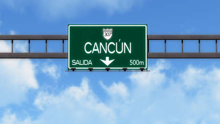 cancun: Cancun Highway Road Sign