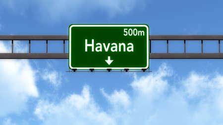 havana cuba: Havana Cuba Highway Road Sign