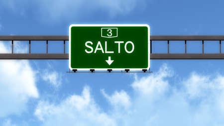 Salto Uruguay Highway Road Sign