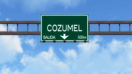 cozumel: Cozumel Highway Road Sign Stock Photo