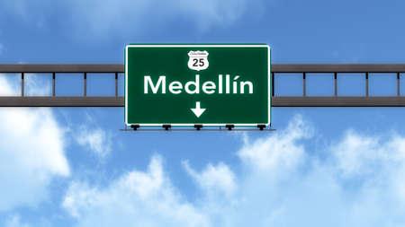 medellin: Medellin Colombia Highway Road Sign