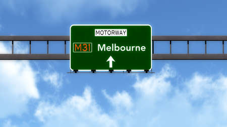 melbourne australia: Melbourne Australia Highway Road Sign