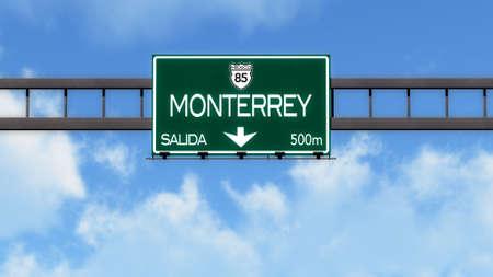 Monterrey Highway Road Sign Stock Photo