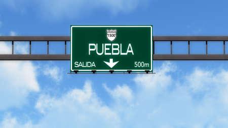 Puebla Highway Road Sign