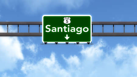santiago: Santiago Chile Highway Road Sign Stock Photo